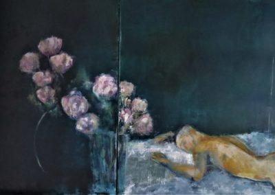 L'endormi. Diptyque ,Huile sur toile,145X80